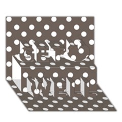 Brown And White Polka Dots Get Well 3d Greeting Card (7x5)