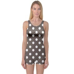 Brown And White Polka Dots Women s Boyleg One Piece Swimsuits