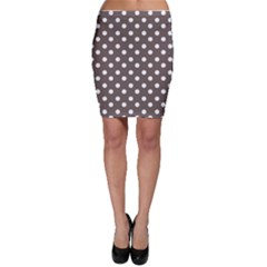 Brown And White Polka Dots Bodycon Skirts