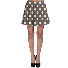 Brown And White Polka Dots Skater Skirts