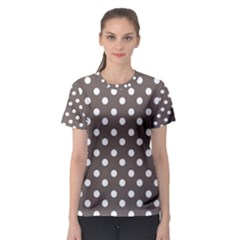 Brown And White Polka Dots Women s Sport Mesh Tees