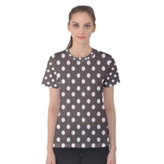 Brown And White Polka Dots Women s Cotton Tees