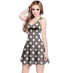 Brown And White Polka Dots Reversible Sleeveless Dresses