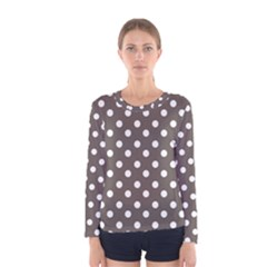 Brown And White Polka Dots Women s Long Sleeve T-shirts