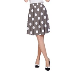 Brown And White Polka Dots A-Line Skirts