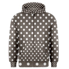 Brown And White Polka Dots Men s Zipper Hoodies