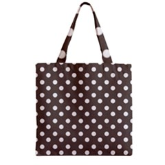 Brown And White Polka Dots Zipper Grocery Tote Bags