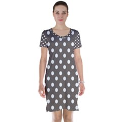Brown And White Polka Dots Short Sleeve Nightdresses