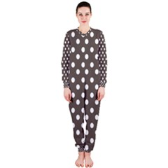 Brown And White Polka Dots Onepiece Jumpsuit (ladies)