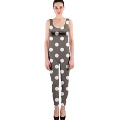 Brown And White Polka Dots OnePiece Catsuits
