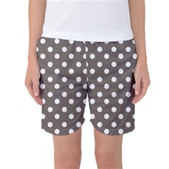 Brown And White Polka Dots Women s Basketball Shorts
