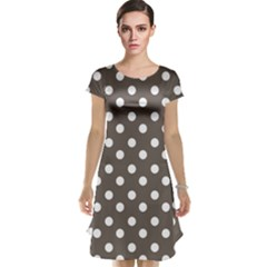Brown And White Polka Dots Cap Sleeve Nightdresses