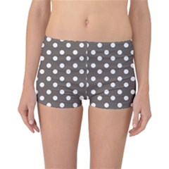 Brown And White Polka Dots Reversible Boyleg Bikini Bottoms