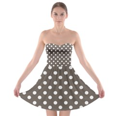 Brown And White Polka Dots Strapless Bra Top Dress