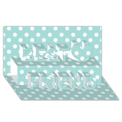 Blue And White Polka Dots Best Friends 3D Greeting Card (8x4)