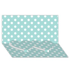 Blue And White Polka Dots Twin Heart Bottom 3d Greeting Card (8x4)