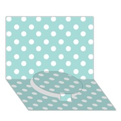 Blue And White Polka Dots Circle Bottom 3D Greeting Card (7x5)