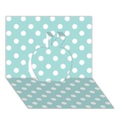 Blue And White Polka Dots Apple 3D Greeting Card (7x5)