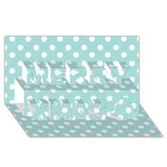 Blue And White Polka Dots Merry Xmas 3D Greeting Card (8x4)