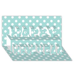 Blue And White Polka Dots Happy New Year 3D Greeting Card (8x4)