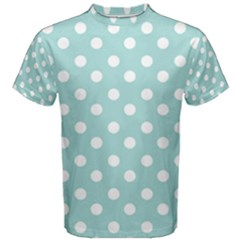 Blue And White Polka Dots Men s Cotton Tees