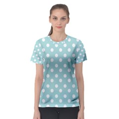 Blue And White Polka Dots Women s Sport Mesh Tees