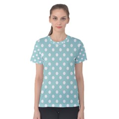 Blue And White Polka Dots Women s Cotton Tees
