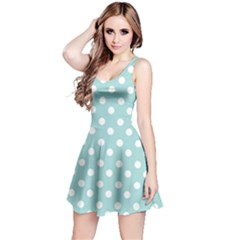 Blue And White Polka Dots Reversible Sleeveless Dresses