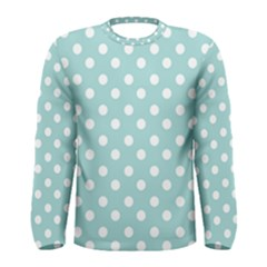 Blue And White Polka Dots Men s Long Sleeve T Shirts