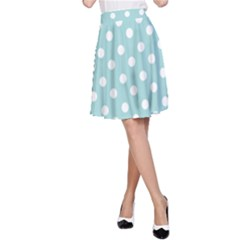 Blue And White Polka Dots A-Line Skirts
