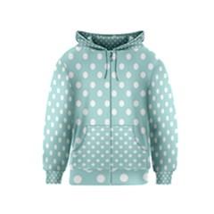 Blue And White Polka Dots Kids Zipper Hoodies