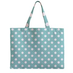 Blue And White Polka Dots Zipper Tiny Tote Bags