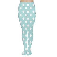 Blue And White Polka Dots Women s Tights