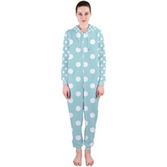 Blue And White Polka Dots Hooded Jumpsuit (Ladies)