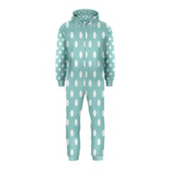 Blue And White Polka Dots Hooded Jumpsuit (Kids)
