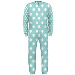 Blue And White Polka Dots OnePiece Jumpsuit (Men)