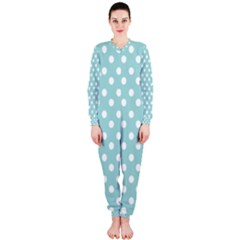 Blue And White Polka Dots OnePiece Jumpsuit (Ladies)