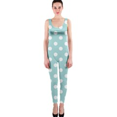 Blue And White Polka Dots OnePiece Catsuits
