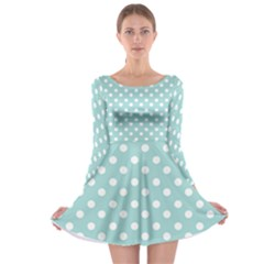 Blue And White Polka Dots Long Sleeve Skater Dress