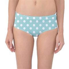 Blue And White Polka Dots Mid Waist Bikini Bottoms