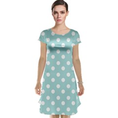 Blue And White Polka Dots Cap Sleeve Nightdresses