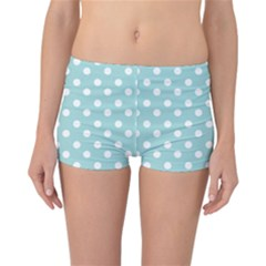 Blue And White Polka Dots Reversible Boyleg Bikini Bottoms