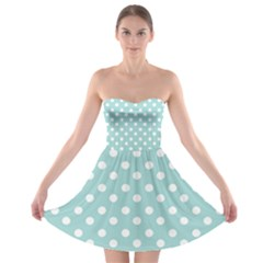 Blue And White Polka Dots Strapless Bra Top Dress