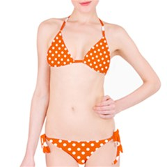 Orange And White Polka Dots Bikini Set