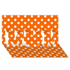Orange And White Polka Dots MOM 3D Greeting Card (8x4)