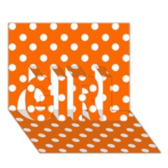 Orange And White Polka Dots GIRL 3D Greeting Card (7x5)