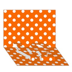 Orange And White Polka Dots LOVE Bottom 3D Greeting Card (7x5)
