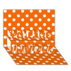 Orange And White Polka Dots YOU ARE INVITED 3D Greeting Card (7x5)