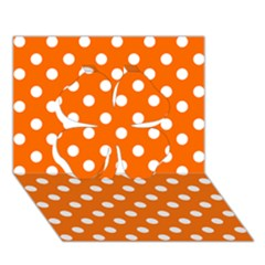 Orange And White Polka Dots Clover 3d Greeting Card (7x5)