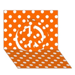 Orange And White Polka Dots Peace Sign 3d Greeting Card (7x5)